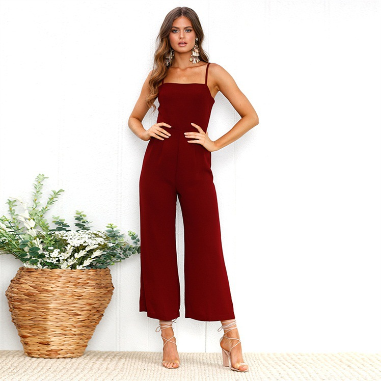 Jumpsuit women rompers solid color square neck sleeveless off shoulder summer zipper womens jumpsuits vestidos ONY0720