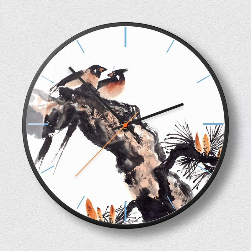 New Chinese style decorative wall clock modern silent metal round clock creative design home black frame Zen is quiet O230