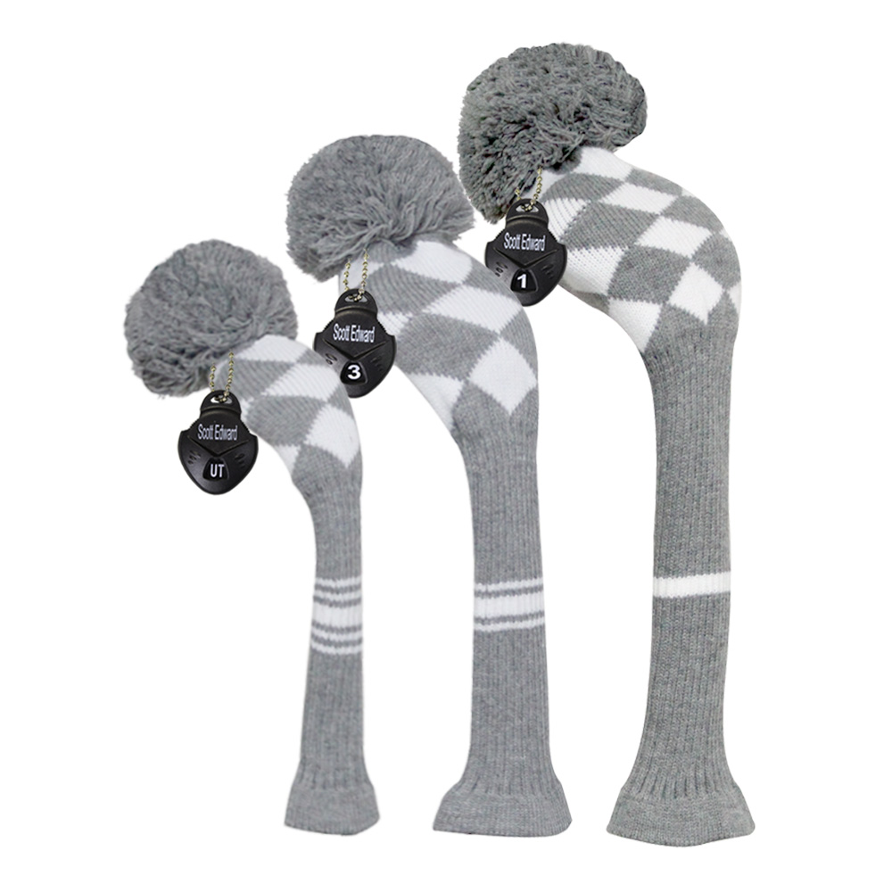Grey/White Argyle Style, Knit Golf Headcover, set of 3 For Driver Wood, Fairway and Hybrid,Golfer Gift