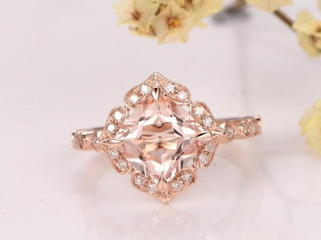 MYRAY Pink Morganite Engagement Ring7x7mm Cushion Cut Stone14K