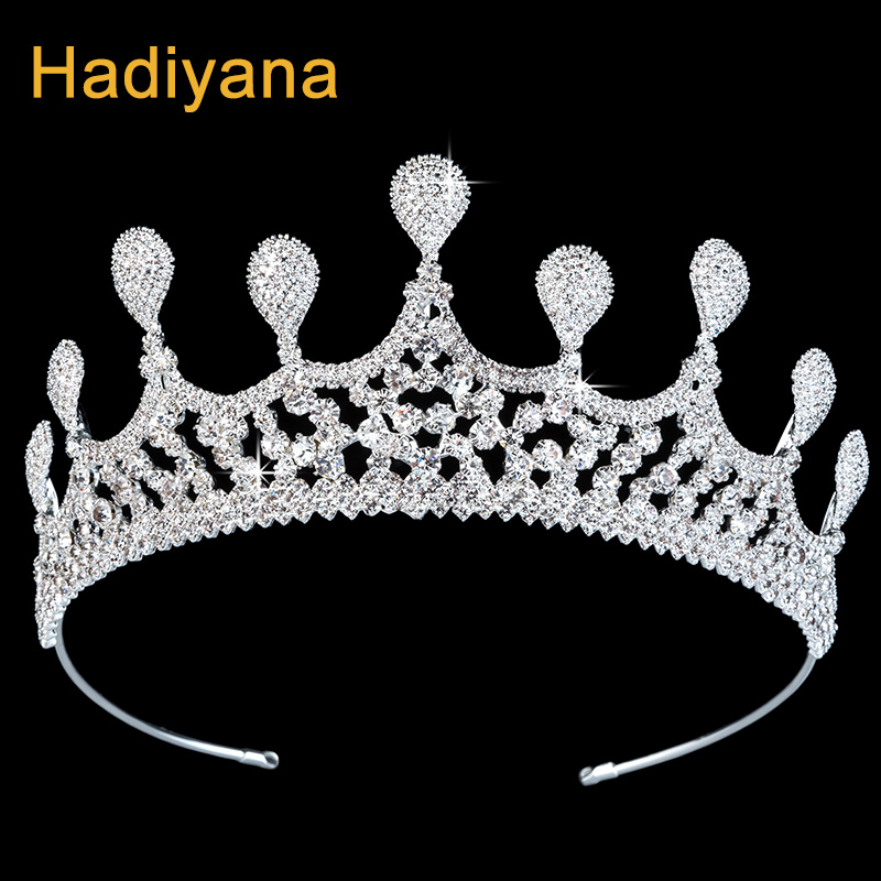 Hadiyana Trendy Women Princess Hair Crown Cubic Zincons Rhinestone Tiaras Silver Copper Bridal Accessories Jewelry Crowns