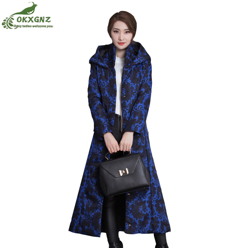 Winter new women coat hooded large-size warm jacket coat Slim long section thickening printed Down cotton Outerwear women OKXGNZ winter new women loose coat fashion cute parkas hooded jacket overcoat long section casual down cotton large size coat cm1560