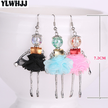 YLWHJJ new girls cute Hot doll earring princess Alloy Multicolor baby dress drop earrings women handmade popular fashion jewelry