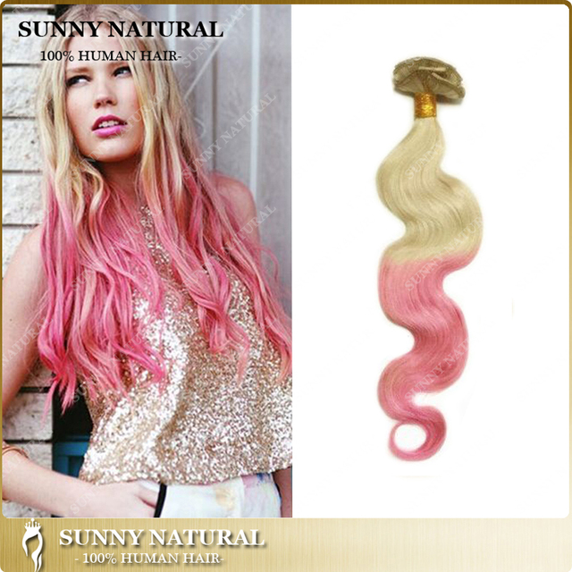 Ombre Brazilian Hair Body Wave Blonde Pink Extension Brazilian