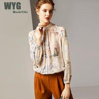 Женская винтажная шелковая блузка 2019 Весна Высокое качество животные бабочка печать драпированные o образным вырезом с длинным рукавом бре