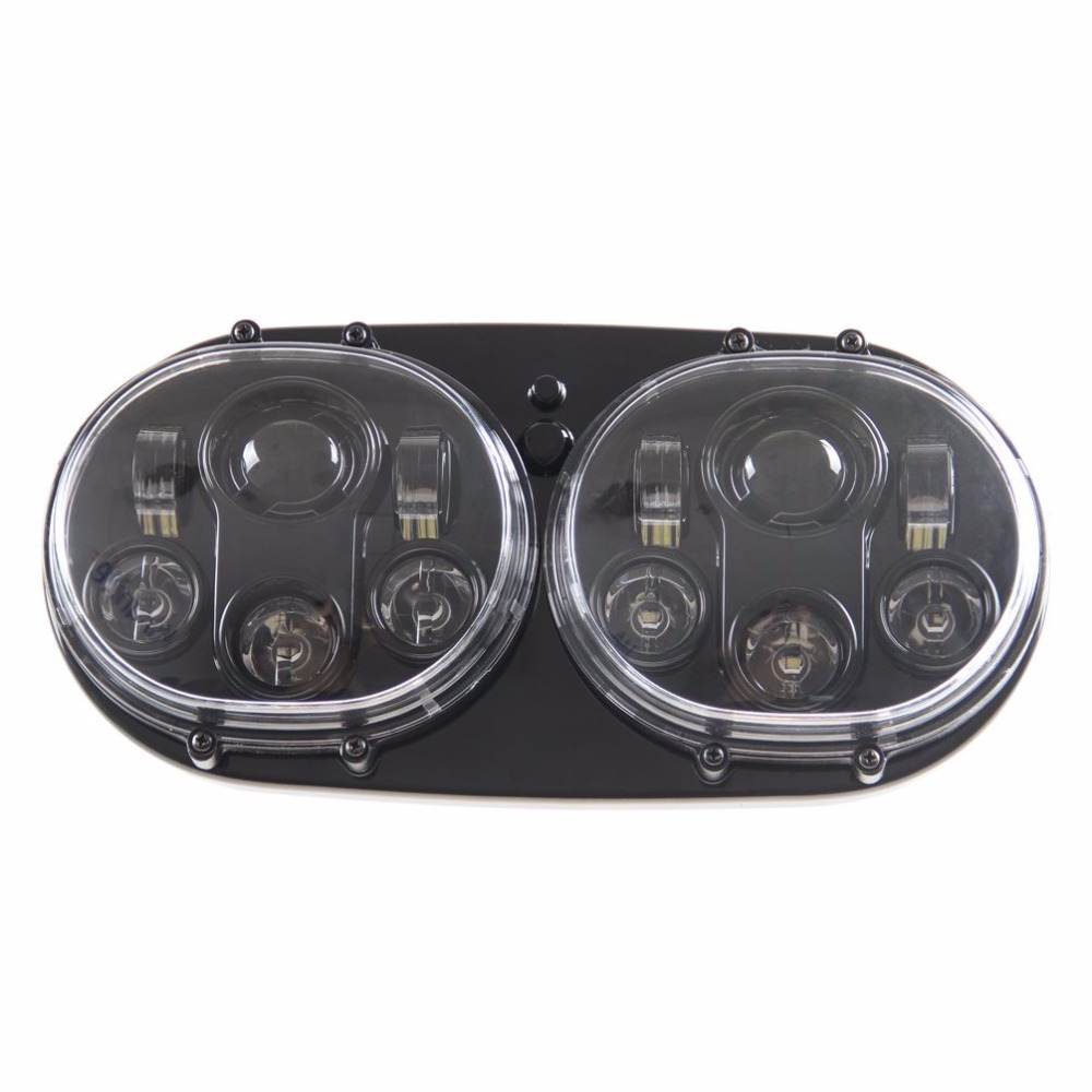 Image 3 - DOT Approved 90W Dual LED Headlights Projector with High/Low Beam For Harley Davidson Motocycle Road Glide 2004 2013dual projectorsheadlight high beamled harley davidson -