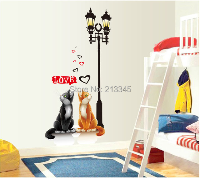 [Saturday Mall] - new products arrival cute cartoon love cat wall stickers home decor decals removable sticker for cats 7020