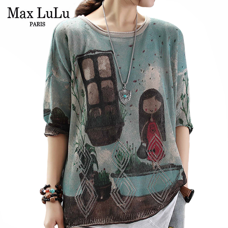 Max LuLu European Fashion Knitwear Ladies Autumn Pullovers Womens Punk Knitted Cotton Sweaters Vintage Oversized Printed Jumper