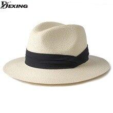 Dexing  verano unisex sombrero de sol casual vacaciones Panamá sombrero de  paja de las mujeres de ala ancha playa jazz hombres . 0440daaa0b0