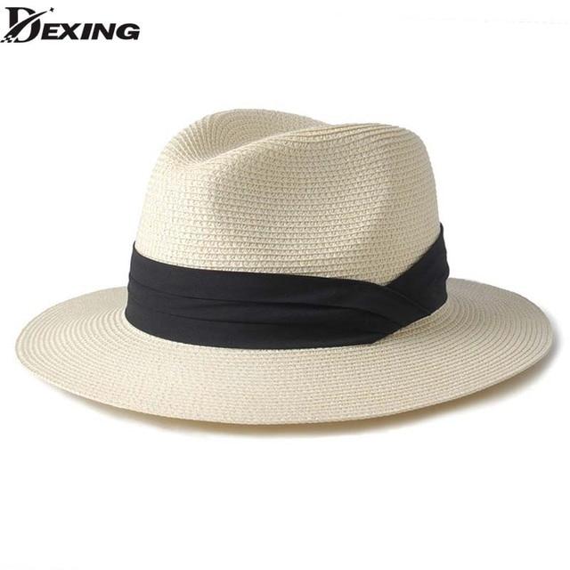eb4980390ab21  Dexing  verano unisex sombrero de sol casual vacaciones Panamá sombrero de  paja de las