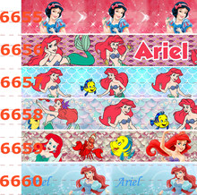 10yards -different sizes -red hair Ariel princess printed Grosgrain ribbon(China)