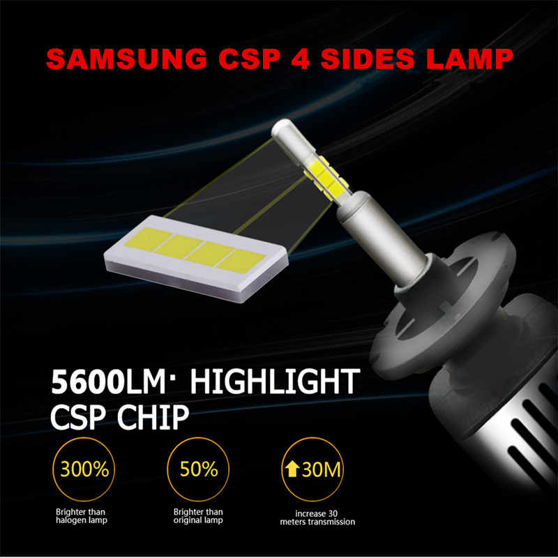 INLONG 2Pcs H1 H7 9005 9006 Car LED Headlight Bulb H11 D2S D1S HB4 D3S H4 D4S SAMSUNG CSP  60W  11200LM Headlamp Fog Light 6500K
