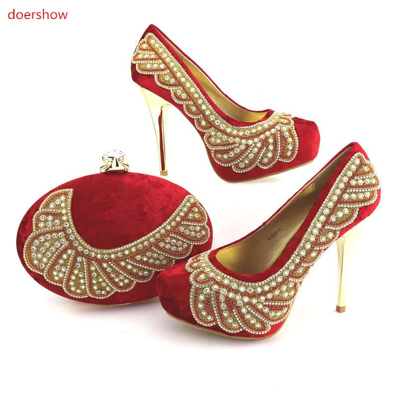 doershow Italian Shoes and Bags Set red color African Matching Shoe and Bags Italian In Women Nigerian Wedding  NJ1-14 doershow african shoes and bags fashion italian matching shoes and bag set nigerian high heels for wedding dress puw1 19