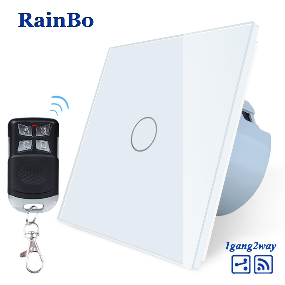 RainBo Crystal Glass Panel Switch EU Wall Switch 110~250V Remote Touch Switch Screen Wall Light Switch 1gang2way  A1914CW/BR01RainBo Crystal Glass Panel Switch EU Wall Switch 110~250V Remote Touch Switch Screen Wall Light Switch 1gang2way  A1914CW/BR01