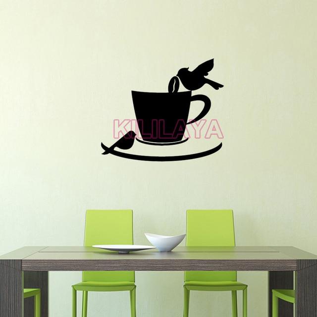 Stickers Coffee Cup Birds Cafe Kitchen Vinyl Wall Sticker Decal Mural Wall  Art Coffee Shop Wallpaper