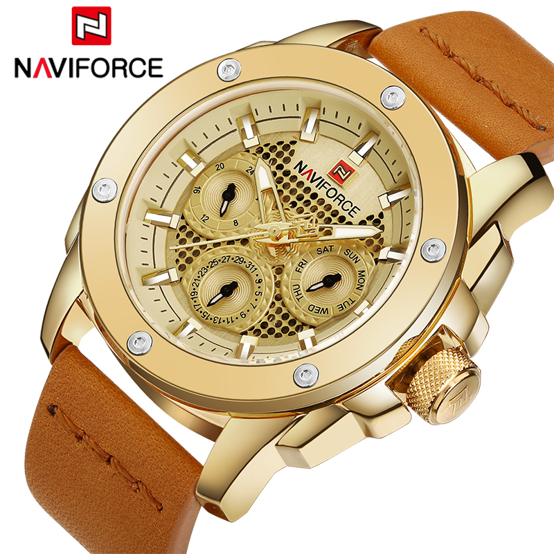 Top Luxury Brand NAVIFORCE Men Sport Watches Fashion Men's Military Waterproof Clock Analog 24 Hour Leather Quartz Wrist watch skmei 6911 womens automatic watch women fashion leather clock top quality famous china brand waterproof luxury military vintage