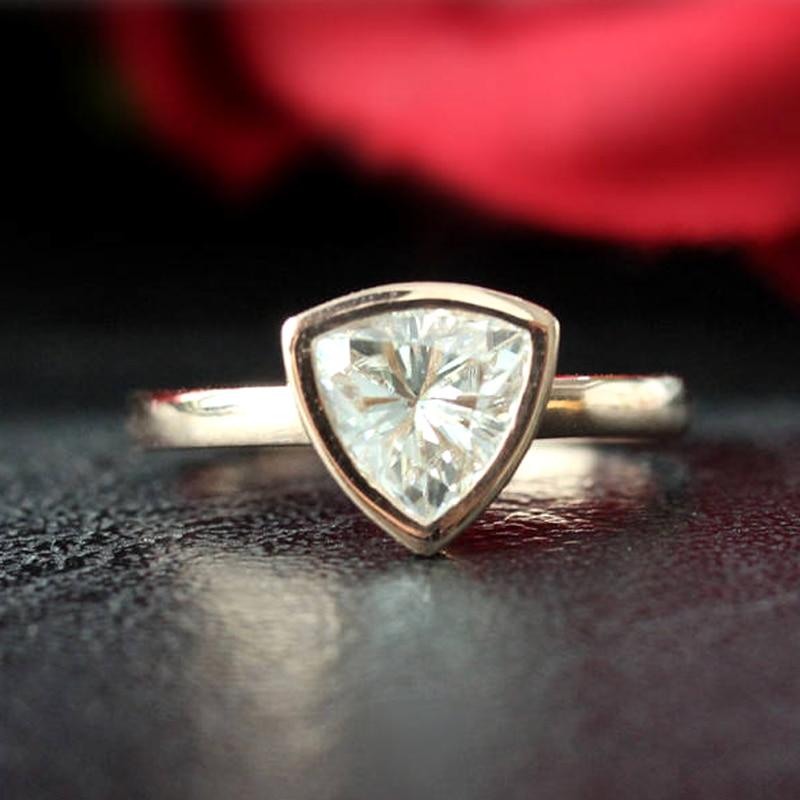 Moissanite Wedding Ring Solid 14K Rose Gold Trillion Cut 1.3ct Moissanite Engagement Ring Anniversary Ring Bezel Ring Moissanite Wedding Ring Solid 14K Rose Gold Trillion Cut 1.3ct Moissanite Engagement Ring Anniversary Ring Bezel Ring