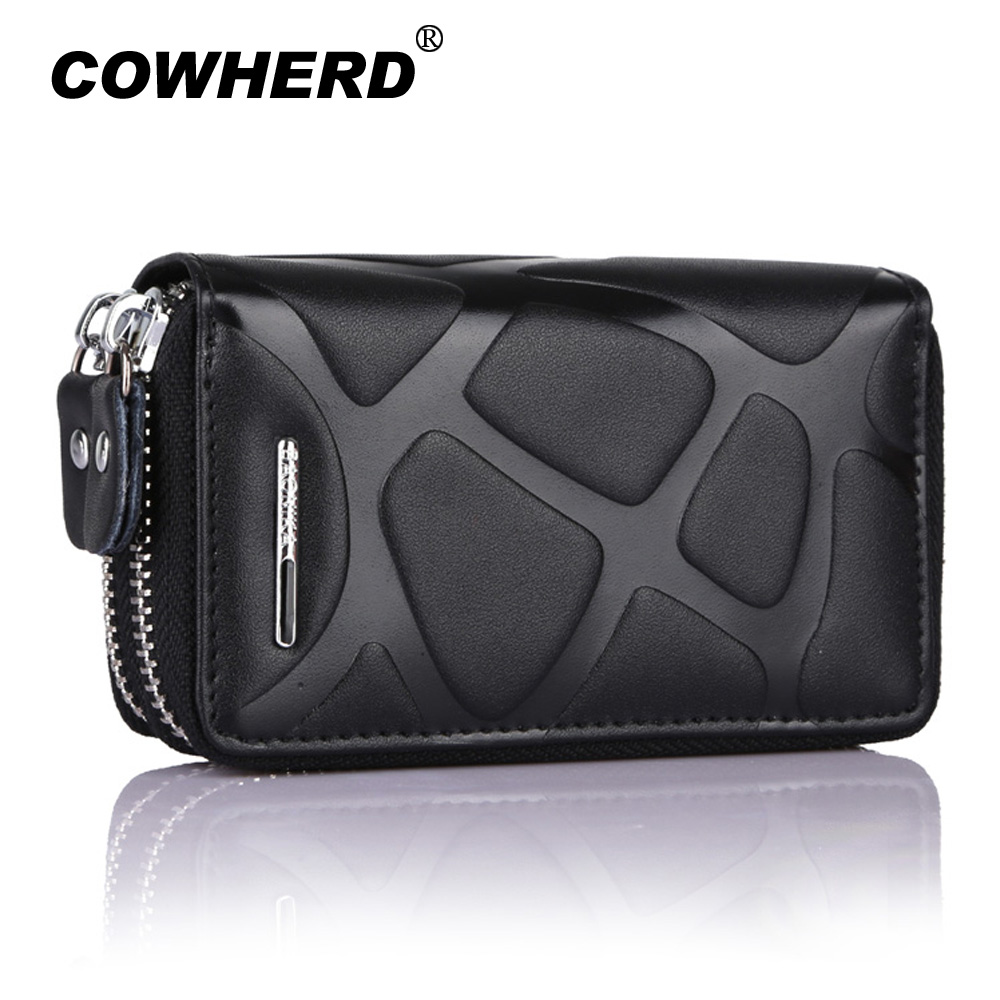4 Colors Brand Multifunction Bag Women & Men Genuine Cow Leather Key Holder Double Zipper Key Card Wallet Car Key Case,YK946