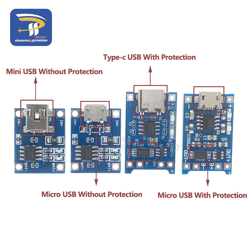 Mini Micro Type-c USB 5V 1A 18650 TP4056 Lithium Battery Charger Module Charging Board With Protection Dual Functions 1A Li-ion 2