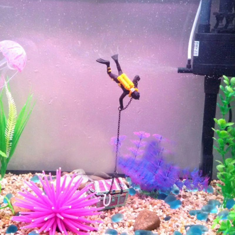 Aquarium Decoration Treasure Hunt Frogman Finder Fish Tank Diver ...