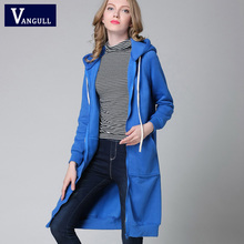 Zipper Women Long Hoodies Solid Cotton Loose Coat Casual Lady Clothing Hooded Autumn Winter Sweatershirt Outerwear