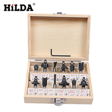 12Pcs 8mm Router Bit Set Shank Tungsten Carbide Rotary Tool With Wood Case Box For Woodworking Cutting Tools