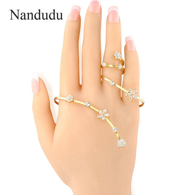 Nandudu Vogue AAA Zircon Palm Bracelet Rose Gold Plated Women's Hand Cuff Handlet Fashion Jewelry Gift R886