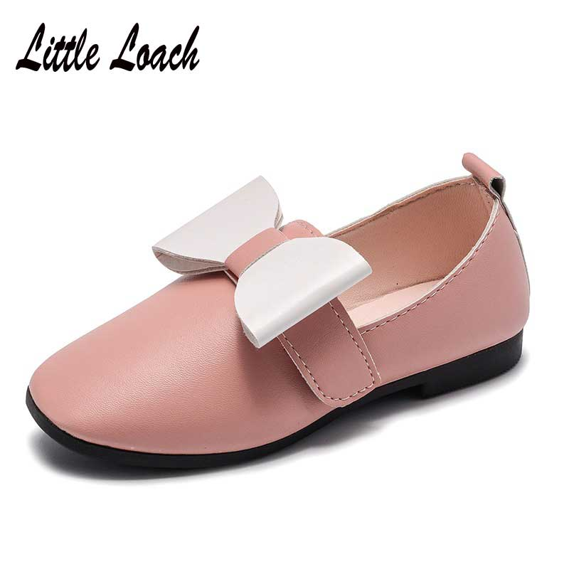 Girls All-match PU Leather Shoes Soft Comfortable Bowknot Princess Dress Shoes Slip-resistant Round Toe Casual Flats Size 21-35
