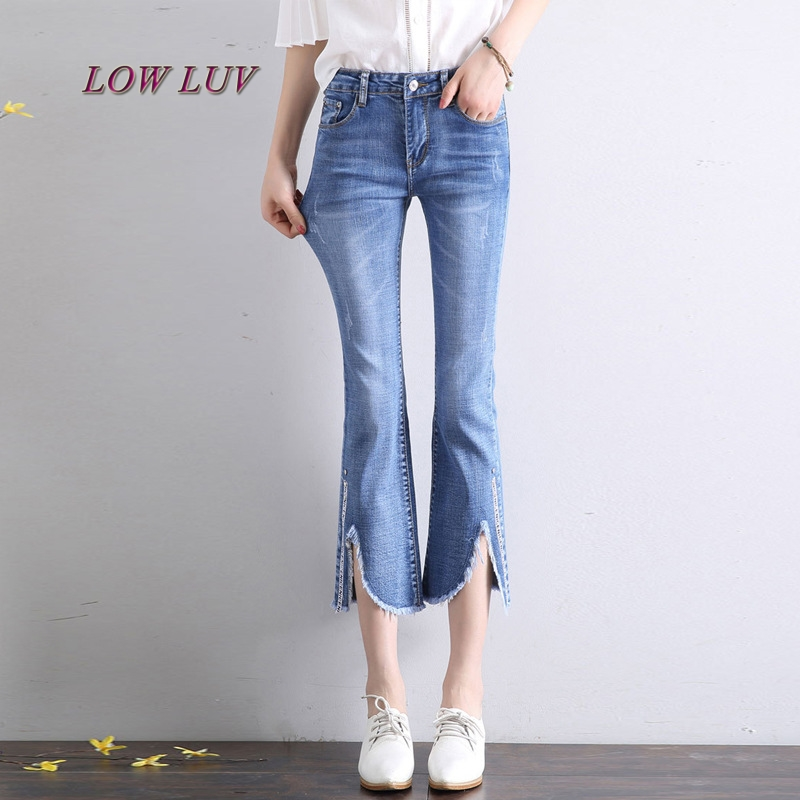 Horn Jeans Women's Pants Summer Jeans Blue Jeans Pants Women's Fashion Pants Femme AL130