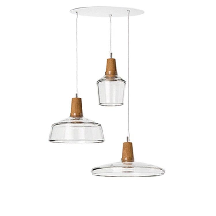 Creative Nordic Dining Room Kitchen Glass Pendant Light Transparent Smoke Glass Lampshade Hanging Lamp Bar Lighting Fixture