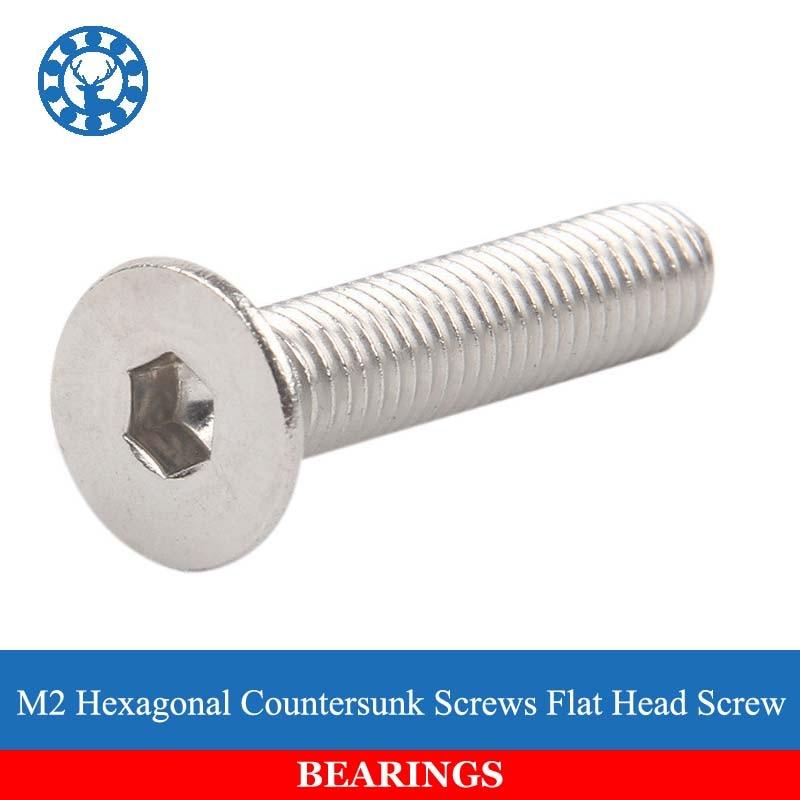 50Pcs DIN7991 GB70.3 ISO10642 JISB1194 M2 304 Stainless Steel Hexagonal Countersunk Screws Flat Head Screw Free shipping fit 10642