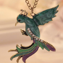 Necklace For Women jewelry Bronze Rhinestone Bird Phoenix Enamel Parrot Pendant Necklaces Vintage Jewelry Long Sweater Chain