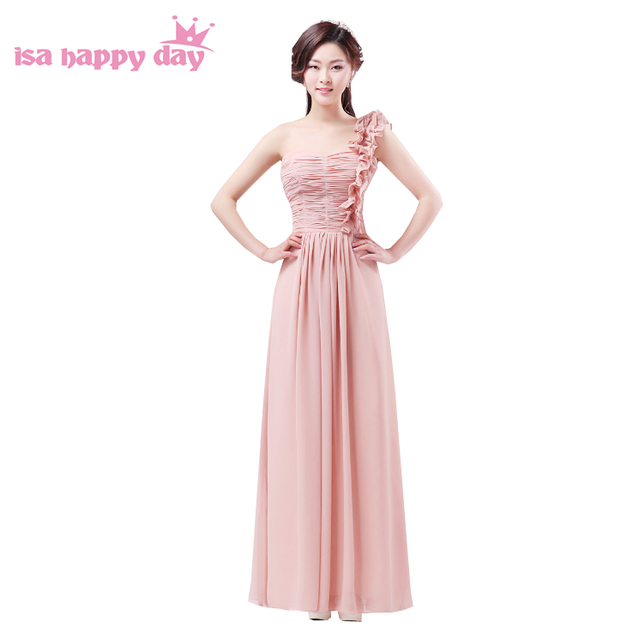 dark pink blush long women chiffon sweetheart a line bridemaid long ...