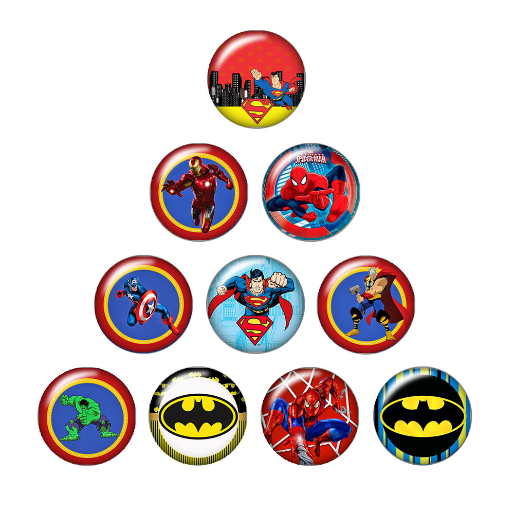 Мода супергероев Супермен железный человек 10 шт. 12 мм/18 мм/20 мм/25 мм круглый фото стекла кабошон демо плоской задней делая выводы ZB0481