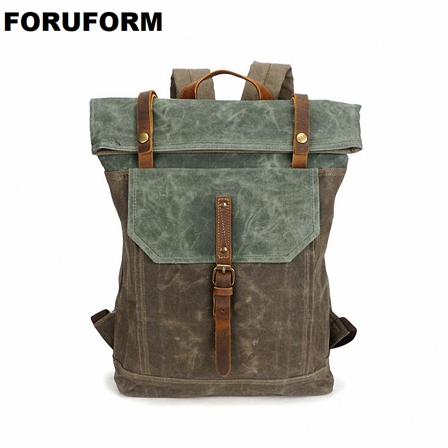Waterproof Backpack Men Canvas Travel Shoulder Rucksack Vintage Large Capacity Youth Boy Laptop Backpack Military School Bag men s casual bags vintage canvas school backpack male designer military shoulder travel bag large capacity laptop backpack h002