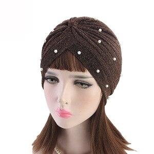 Image 2 - Тюрбан женский с оборками, Модный Блестящий головной убор с сеткой и золотыми бусинами, мусульманский головной убор, аксессуары для волос