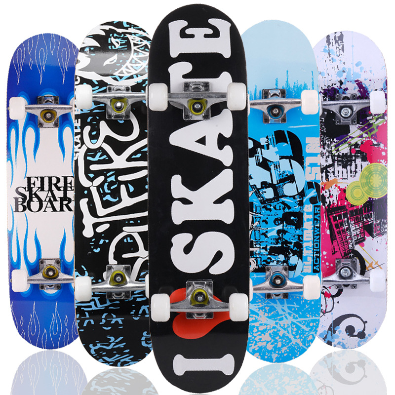 31inches Adult & Kids Double Rocker Skateboard Complete Skateboard Skate Board Street Dancing Skateboard Maple Deck Board-in Skate Board from Sports & Entertainment