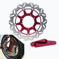 Motorcycle 320mm Front Brake Disc Rotor with 4 Pot Caliper Adapter Bracket For Honda CR CRF 125 250 450 500 E R X SUPERMOTARD