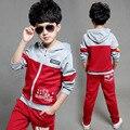 Nueva Ropa Niños del Otoño Establece Kids Boy Cremallera Ropa Set Niño Trajes de deporte Big Girl & Boy Tops + Pants Juegos de Cartas