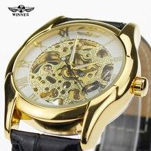 Alta Calidad Popular Ganador Marca de Moda Casual Estilo de Oro Caja de Acero Inoxidable Para Hombre Top Brand Lxruy Relojes Mecánicos