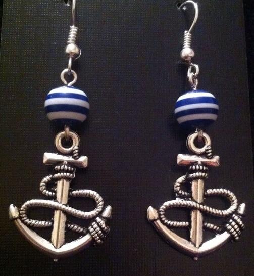 0fd5aa5b63f9 10 par lote antiguo ancla de plata y azul tatuaje Cuentas encanto  Pendientes para las mujeres Niñas bijouterie Día de San Valentín regalo a190