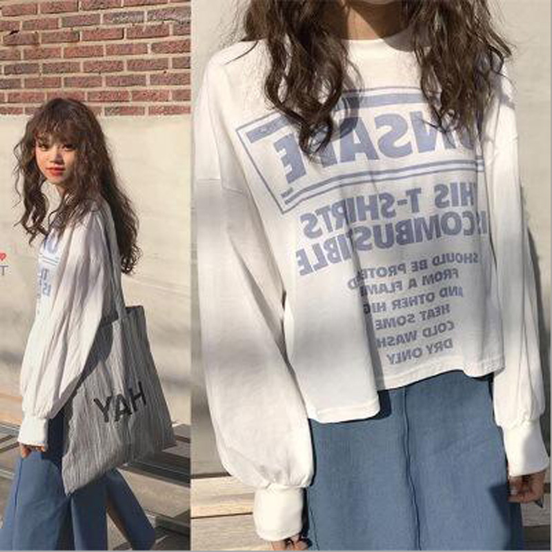 Spring Autumn New Women Tshirt Fashion Letters Print Long Sleeve O Neck Cotton Women Tops Tees Casual Loose T shirts Women