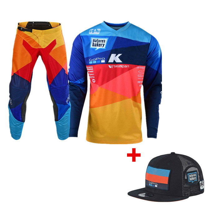 Motocross-Gear-Set Pant Snapback Mx-Moto-Combos Off-Road with Top-Atv Motorcycle Jersey