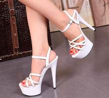 Mujeres sandalias de verano sandalias de la plataforma del cuero de patente  zapatos de tacón alto 15 cm desfiles de m. 78c4876c0eb3