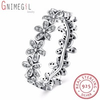 925 Sterling Silver Flowers Finger Rings Dazzling Daisy Meadow Stackable Ring Clear CZ For Women Wedding