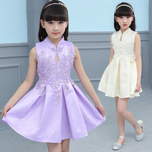Floral Embroidered Appliques Qipao Dress For Girl New Summer Dresses Kid Chinese Style Chi Pao Girls Cheongsam Sleeveless Dress