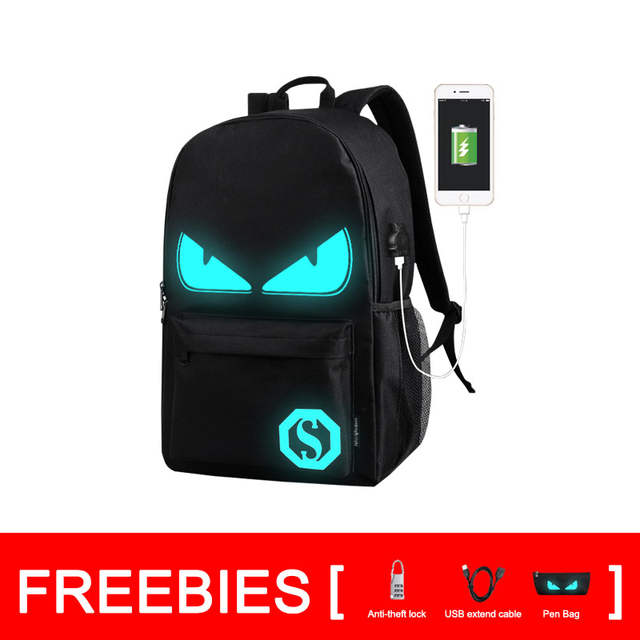 1af0660a790c [Drop Shipping] HOT Sale Night Lighting Bags Noctilucent Cartoon Backpacks  Teenager Children's School Bags with Freebies (BA184)
