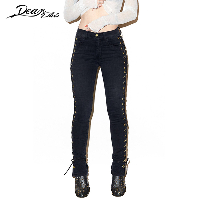 Side Lace Up Hollow Out Black High Waist Pants Women Sexy Skinny Slim Casual Pencil Pants Trousers