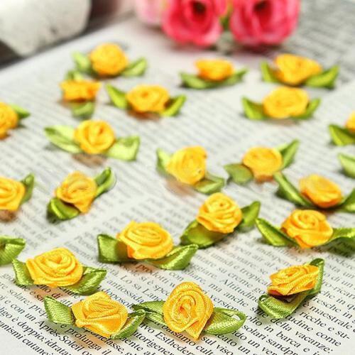 100pcs Mini Satin Ribbon Rose Flower Leaf Wedding Decor Appliques Sewing DIY Main Color:Orange