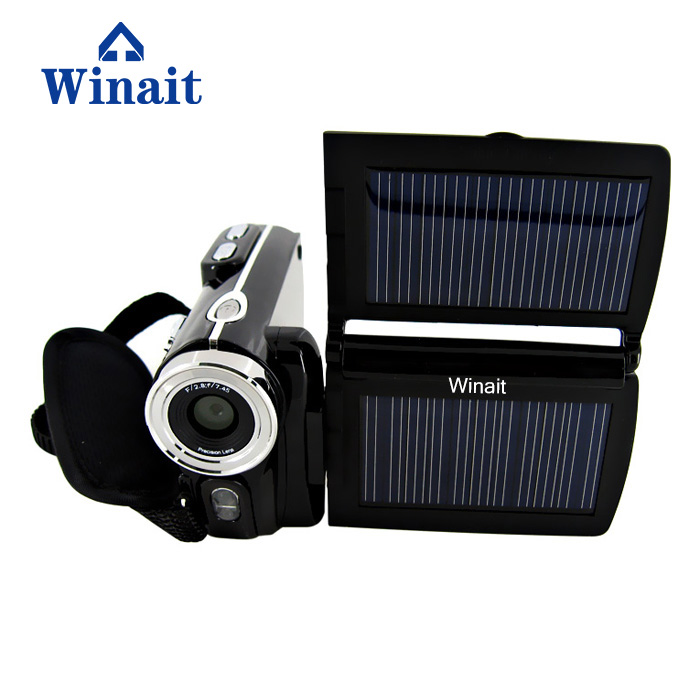 Winait free shipping HD 12MP dual solar panel digital video camera with 8x digital zoom camcorder hot sale easy use hd 720p 12m 8x digital zoom video camcorder camera gift for family happy recording 1pc